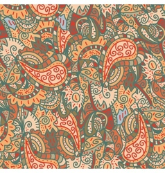 seamless wave hand-drawn retro pattern vector image