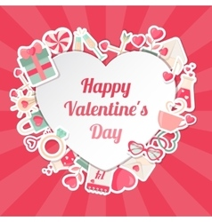 Valentines day banner with flat icons and heart vector
