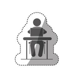 sticker black silhouette pictogram sitting in desk vector image