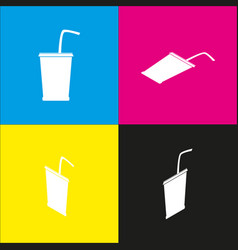 drink sign   white icon with vector image