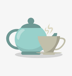 Porcelain tea kettle with cup of coffee vector