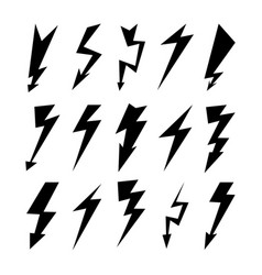 Lightning icon set electricity thunder danger vector