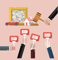 Auction concept in flat style vector