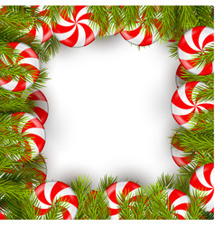 Christmas background with lollipop and pine tree vector