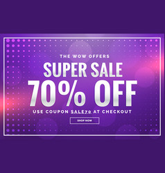 Purple sale banner design with offer design for vector