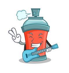 Aerosol spray can character cartoon with guitar vector