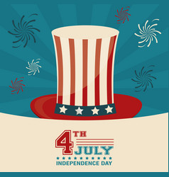 4th july independence day top hat decorative vector
