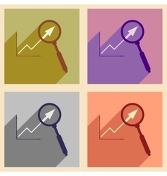 Flat with shadow icon concept economic graph and vector