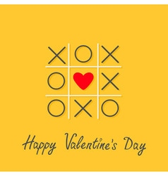 Happy valentines day love card tic tac toe game vector