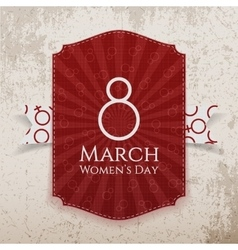 March 8 womens day red striped banner and ribbon vector