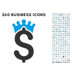 Business crown icon with flat set vector