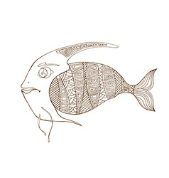 Tangle patterns stylized fish vector