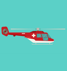 ambulance helicopter in flat style vector image vector image