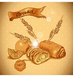 Bakery sketches in vintage style vector image vector image