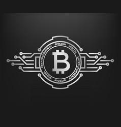 Bitcoin abstract silver symbol of internet money vector