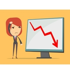 Business lady at loss arrow vector