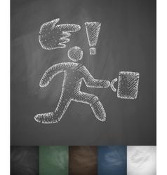 Businessman runs icon hand drawn vector