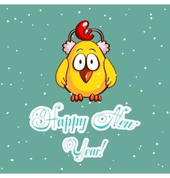 Chick in earmuffs greeting card vector