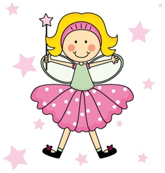 Child Fairy with a magic wand vector image vector image