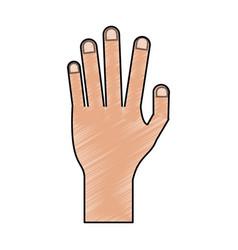 Color pencil cartoon hand human palm vector