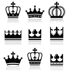 Crown royal family icons set vector image