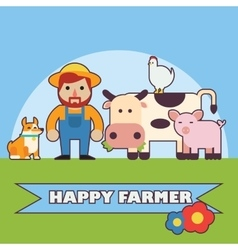 Farmer and farm animals set vector
