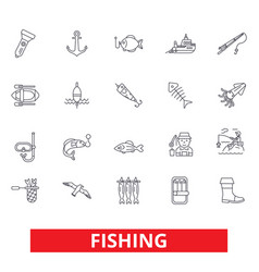 Fishing boat rod yachting hook fish fisherman vector