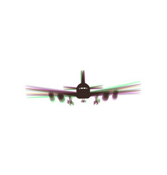 Flying plane sign front view colorful vector