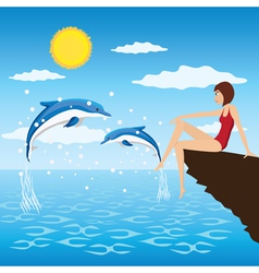 Girl and dolphins vector image vector image