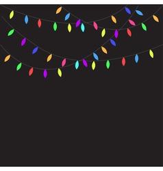 Glowing Christmas Lights Flat design Black vector image