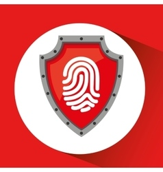 hand holding fingerprint shield protection data vector image