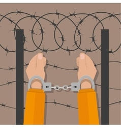 Handcuffs on hands flat style vector