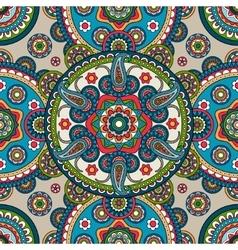 Indian paisley mandala seamless pattern vector image vector image