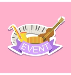 Jazz concert event template label cute sticker vector