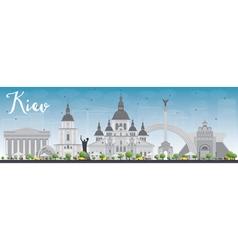 Kiev skyline with grey landmarks and blue sky vector