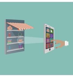 Lady buying goods in online store vector