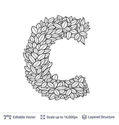 Letter c symbol of white leaves vector