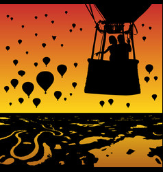 lovers in balloon at sunset vector image vector image