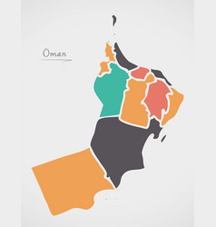 Oman map with states and modern round shapes vector
