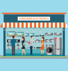 People in consumer electronics store vector