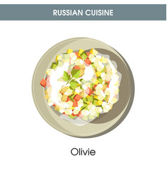 Rich olivie salad dressed with mayonnaise from vector