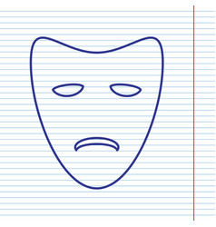 Tragedy theatrical masks navy line icon vector