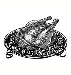 whole roasted turkey in engraved style vector image vector image