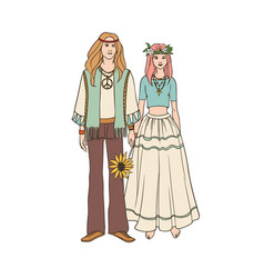 young hippie man and woman with long hair dressed vector image vector image