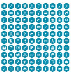 100 tools icons sapphirine violet vector