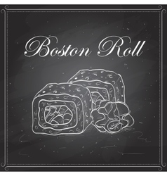 Sushi sketch boston roll vector