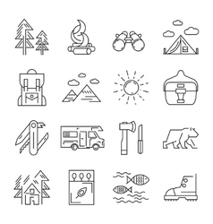 Camping line icon set vector