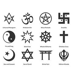 Icon set of world religious symbols vector