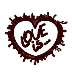 Realistic chocolate heart splash love vector