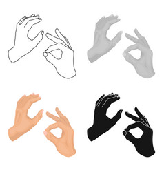 sign language icon in cartoon style isolated on vector image